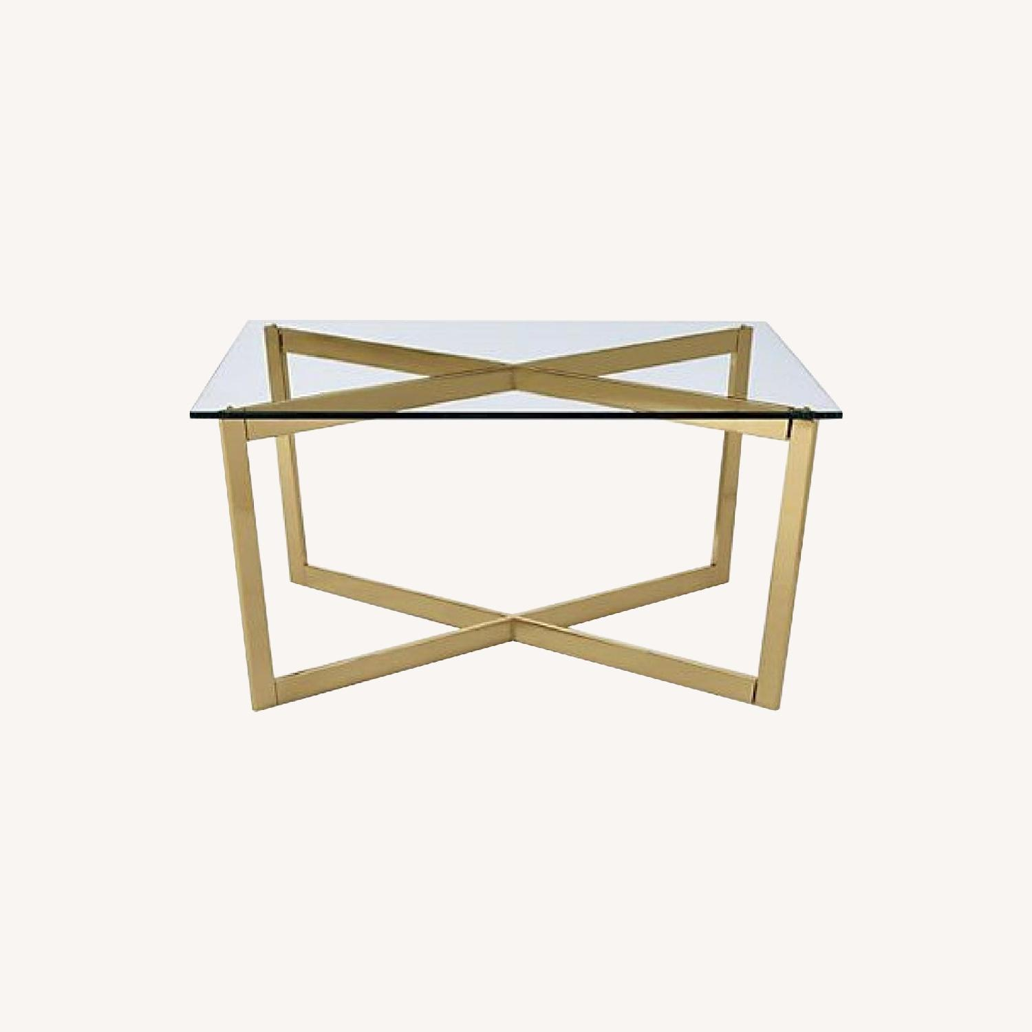 West Elm Modern Coffee Table In Brass Gold Glass Aptdeco