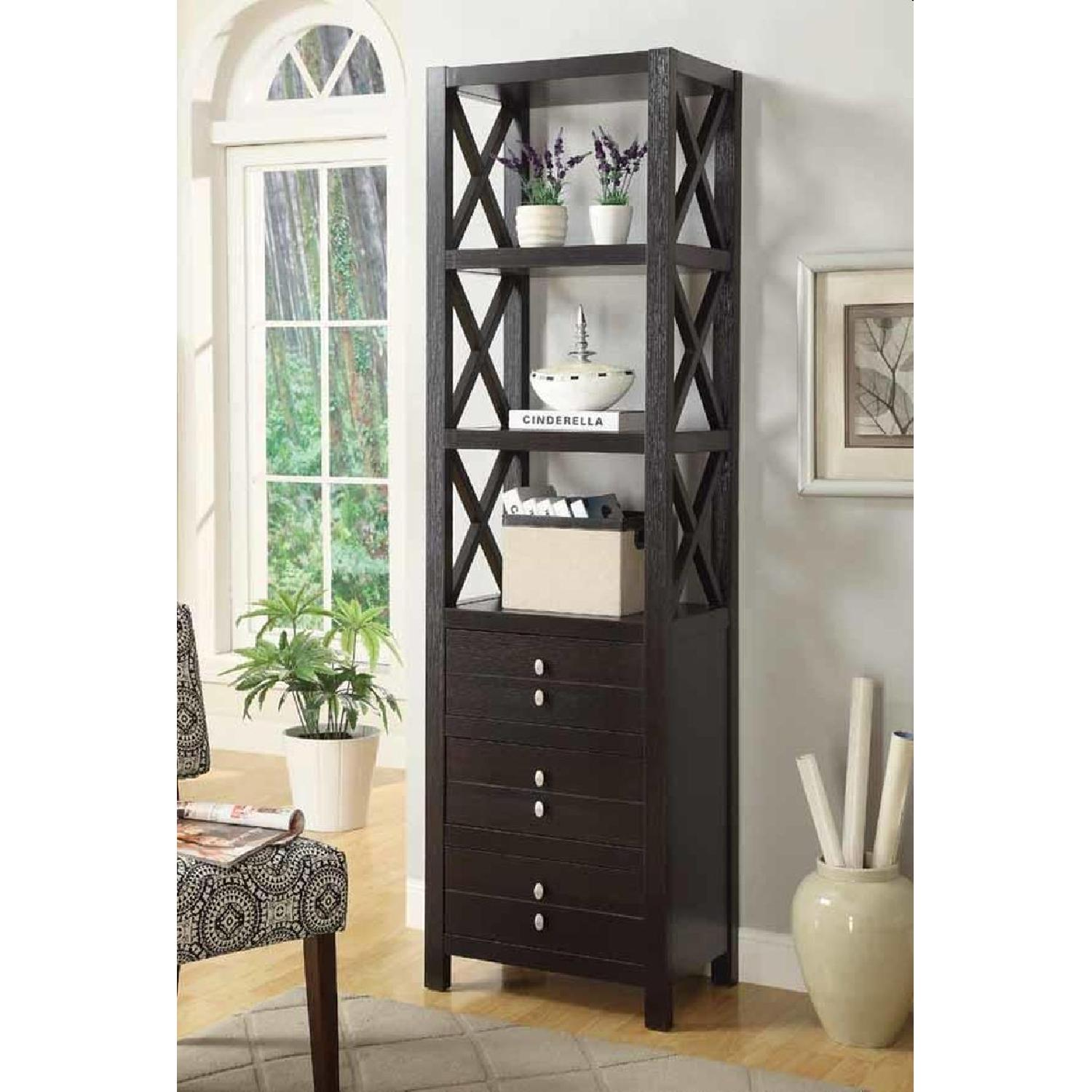 Cappuccino Finish Bookcase w/ 3-Tiers And 3 Drawers - image-2