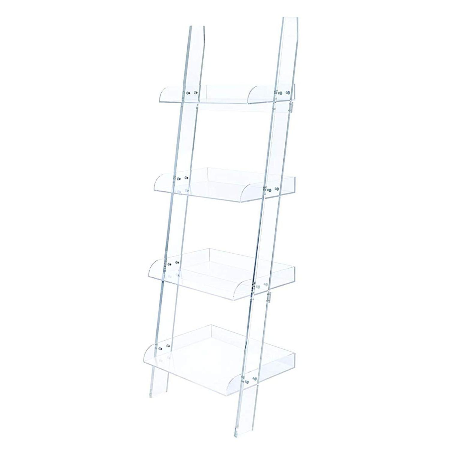 Modern Style 4-Tier Clear Acrylic Ladder Bookcase - image-0