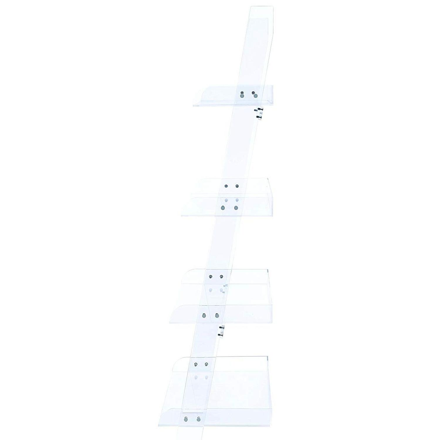 Modern Style 4-Tier Clear Acrylic Ladder Bookcase - image-1