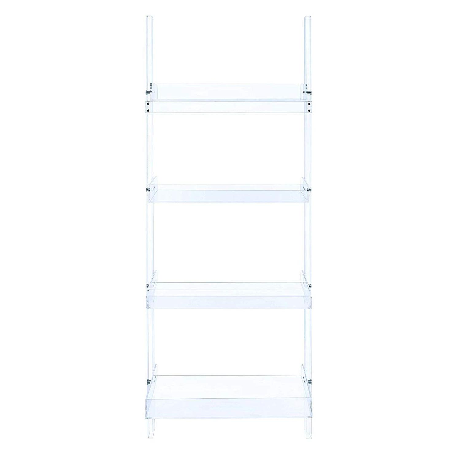 Modern Style 4-Tier Clear Acrylic Ladder Bookcase - image-2