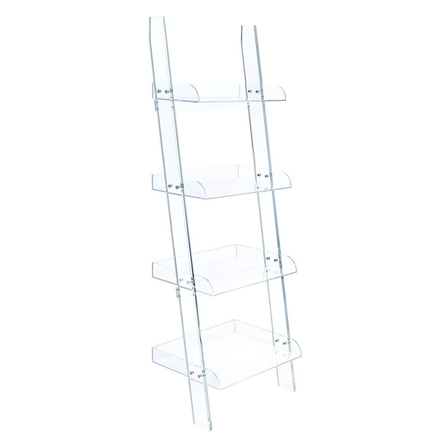 Modern Style 4-Tier Clear Acrylic Ladder Bookcase - image-3