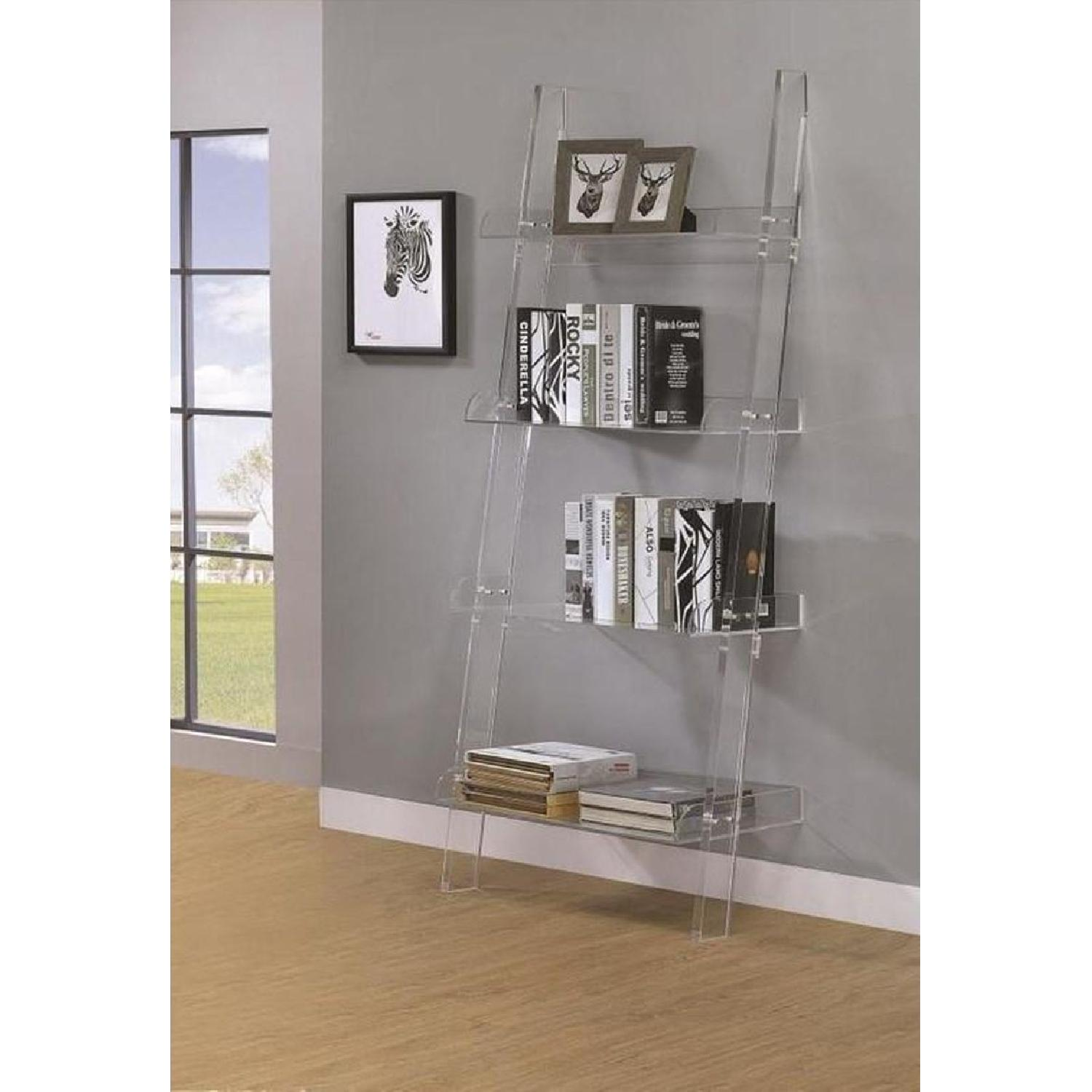Modern Style 4-Tier Clear Acrylic Ladder Bookcase - image-4