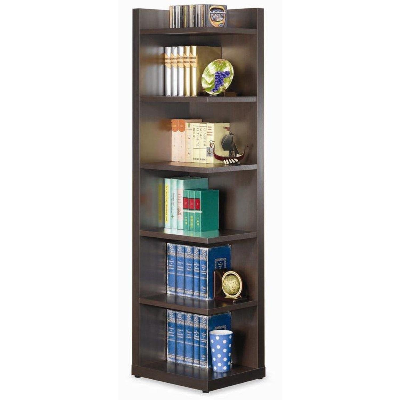 6-Shelves Corner Bookcase In Cappuccino Finish - image-0