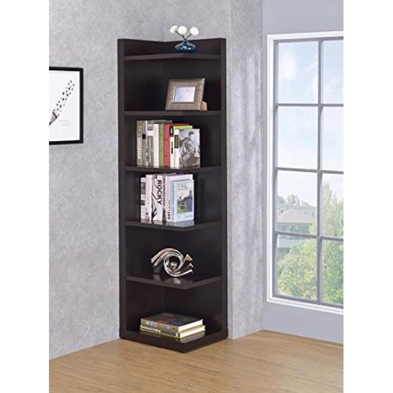 6-Shelves Corner Bookcase In Cappuccino Finish - image-1