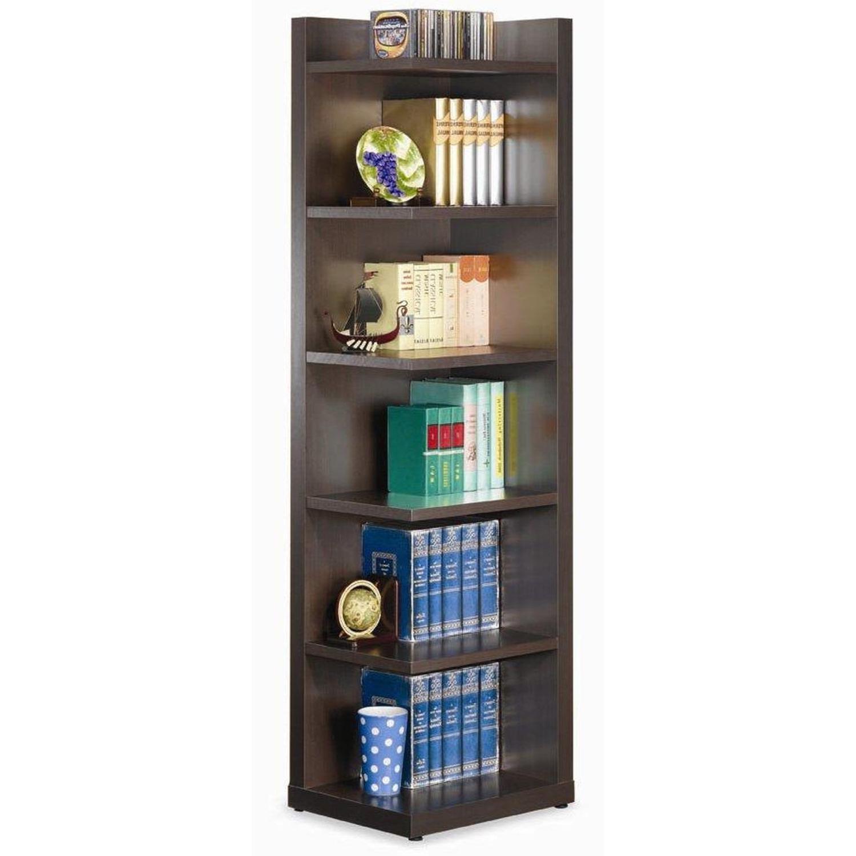 6-Shelves Corner Bookcase In Cappuccino Finish - image-2