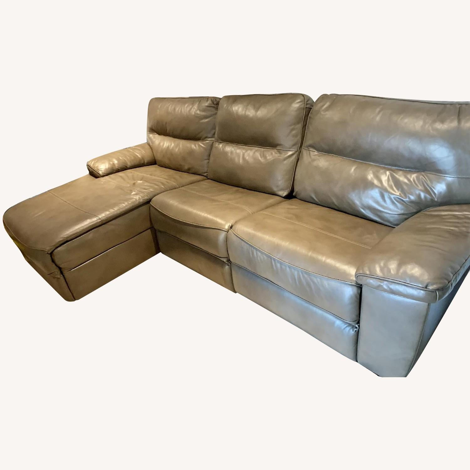 Picture of: Macy S Brown Leather Reclining Sectional Sofa Aptdeco