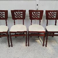 Stakmore Wood Folding Chairs w/ Leaf Back Pattern