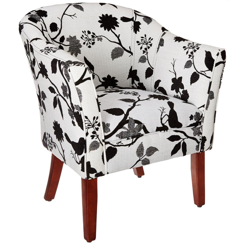 Accent Chair W/ Black White Bird Branch Print Fabric