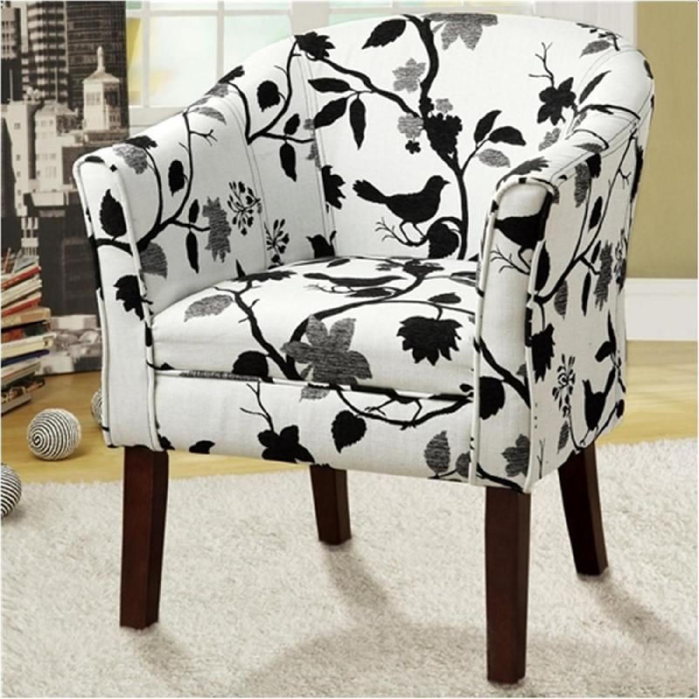 Accent Chair W Black White Bird Branch Print Fabric Aptdeco