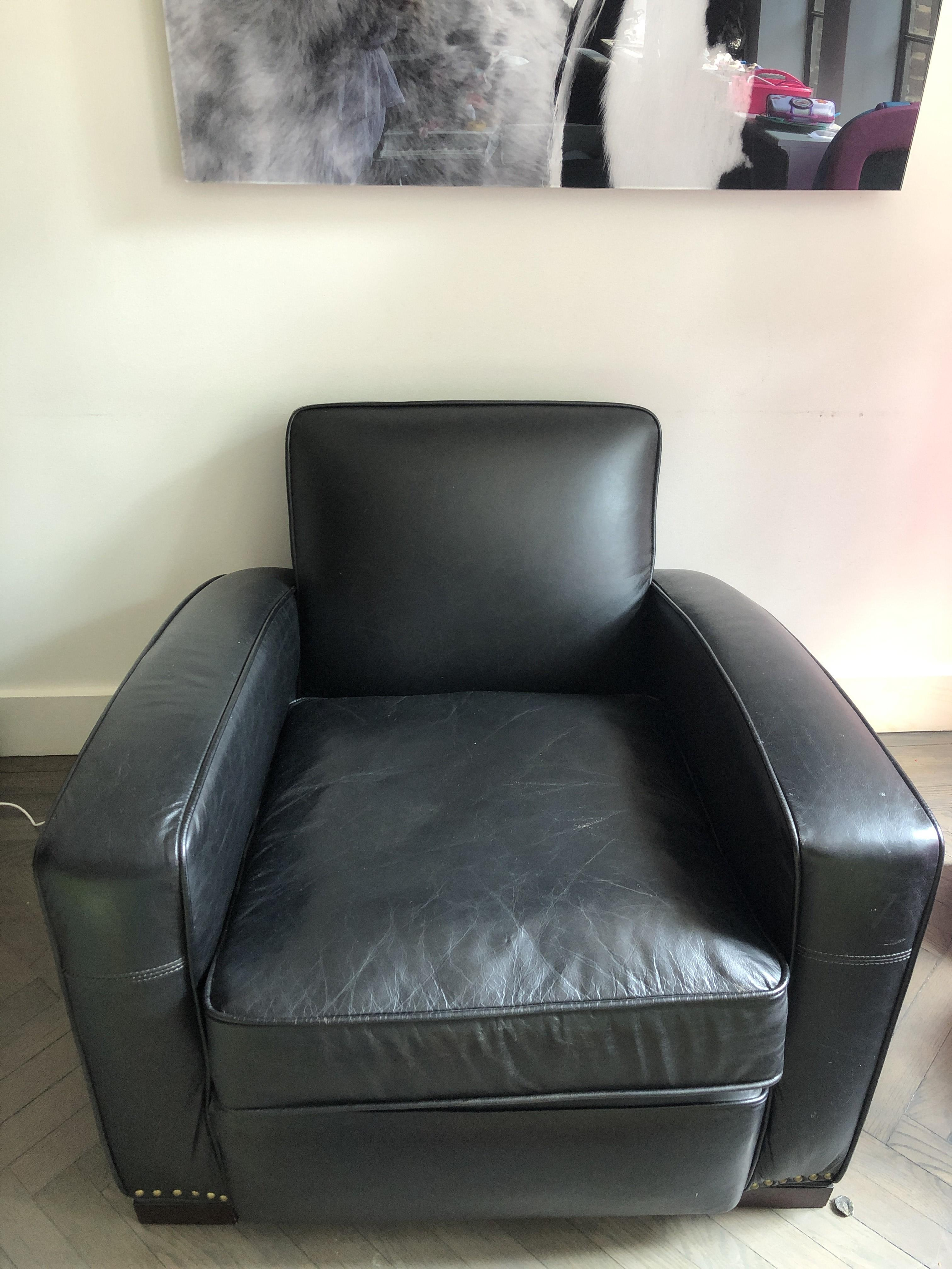 Restoration Hardware Library Leather Chairs in Slate