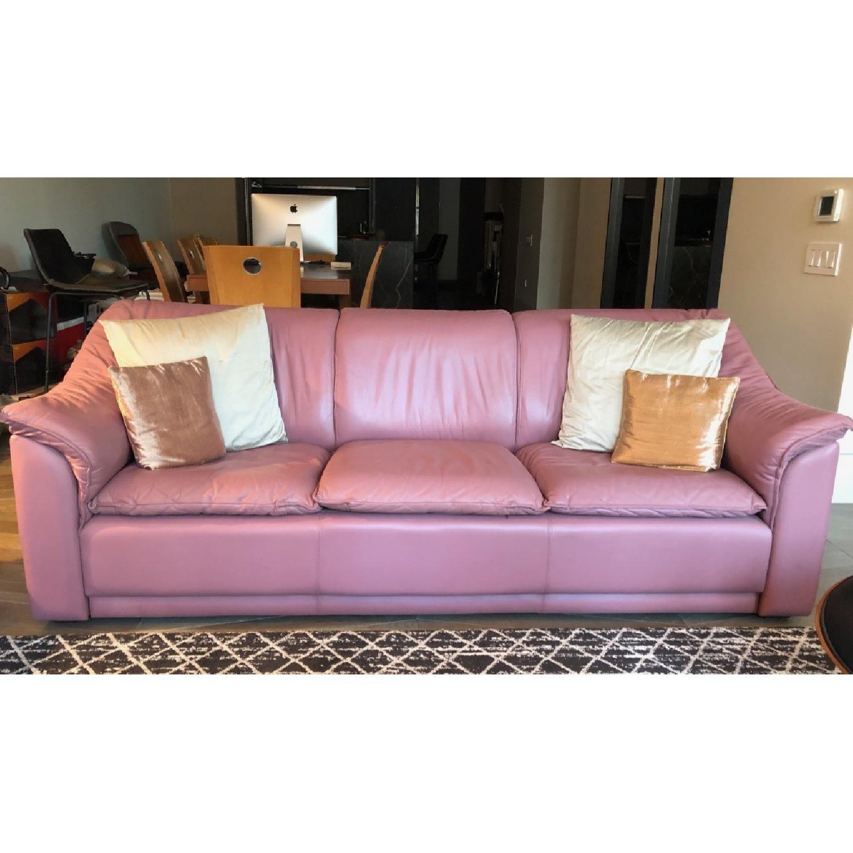 Custom Made Pink Italian Leather Sofa