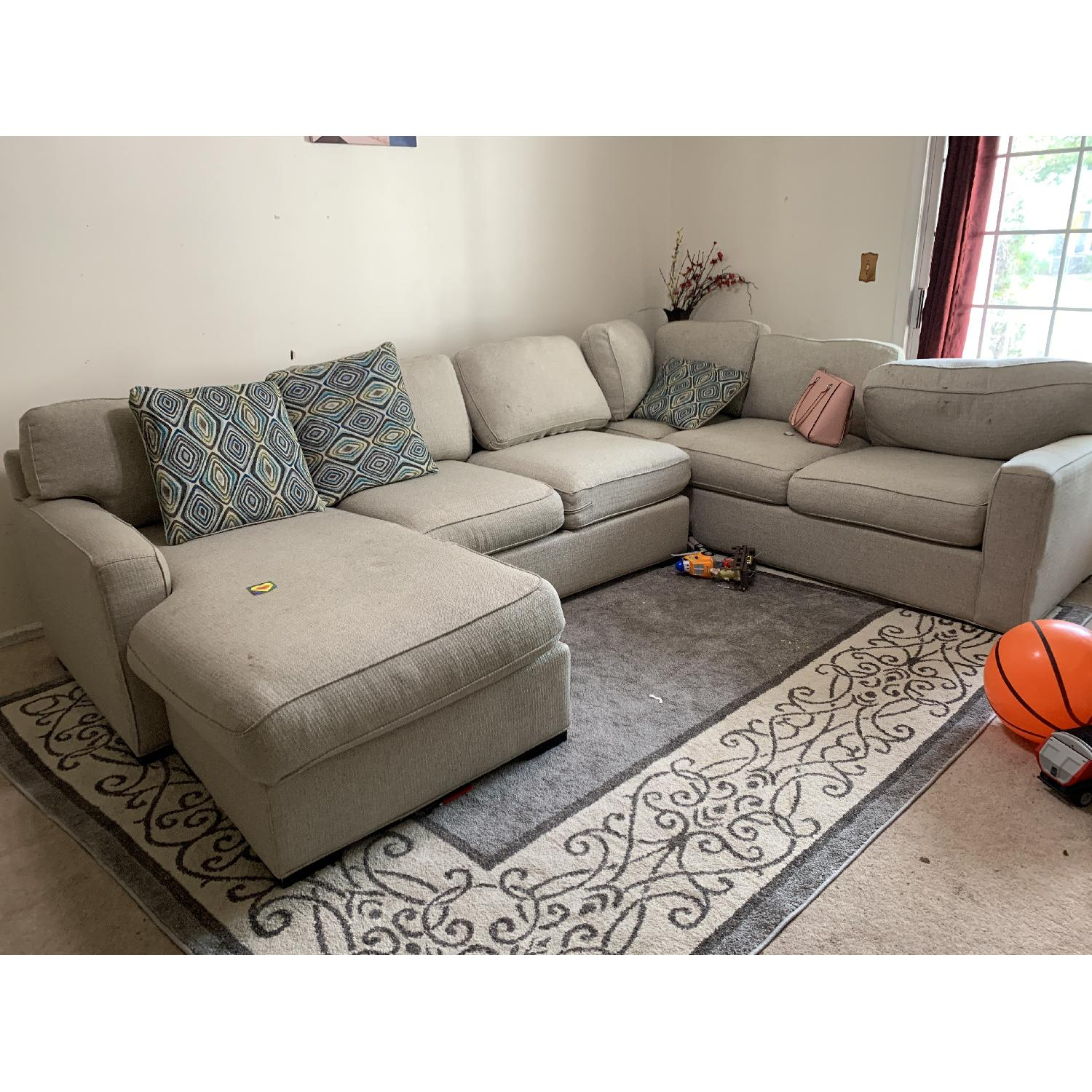 Ashley Beige Fabric Chaise Sectional Sofa