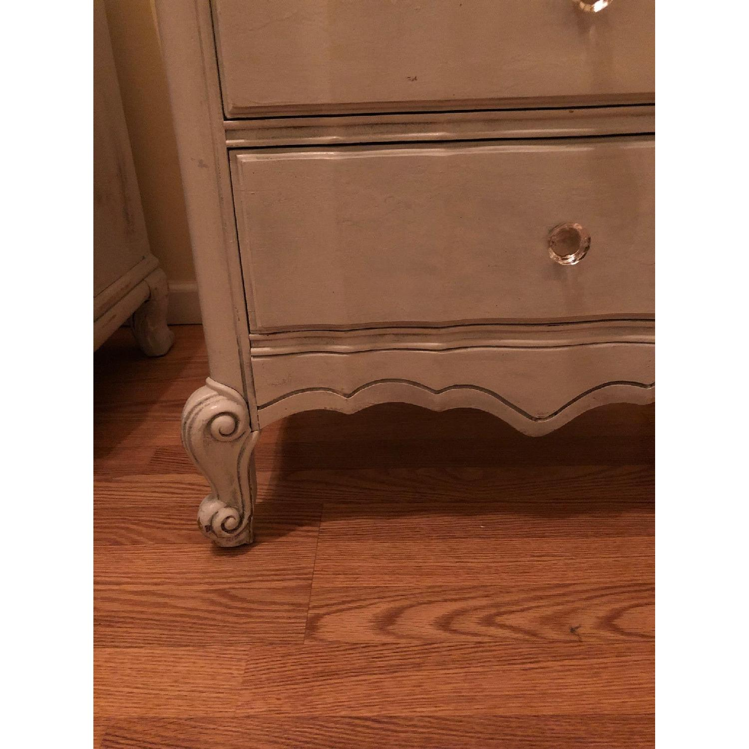 Custom Made Light Blue Distressed Nightstand W Lined Drawer