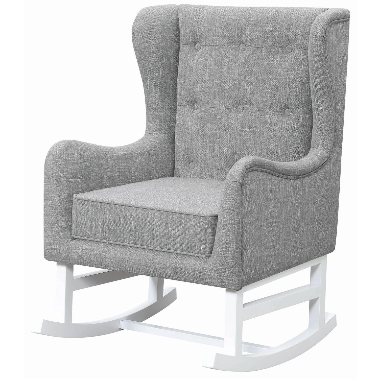 High Backed Rocking Chair In Grey Fabric W Tufted Back