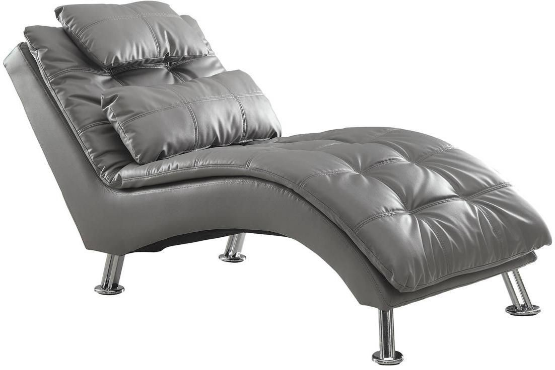 Contemporary Chaise Upholstered In Grey Faux Leather
