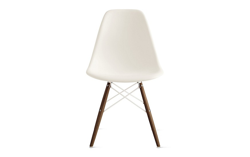Eames Herman Miller White Dining Chairs w/ Walnut Base