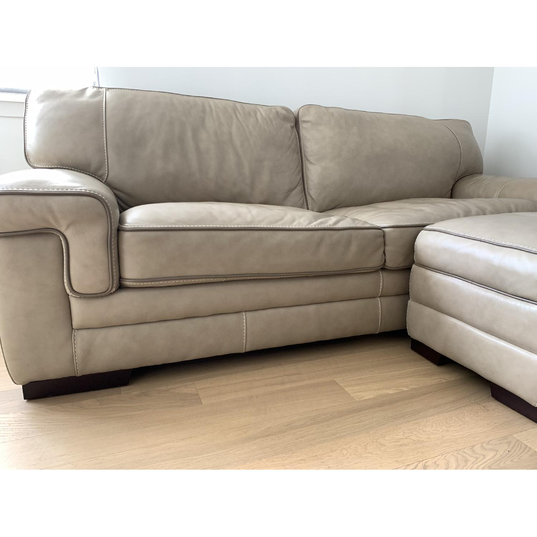 Wondrous Macys Myars Leather Sofa Ottoman Aptdeco Gmtry Best Dining Table And Chair Ideas Images Gmtryco