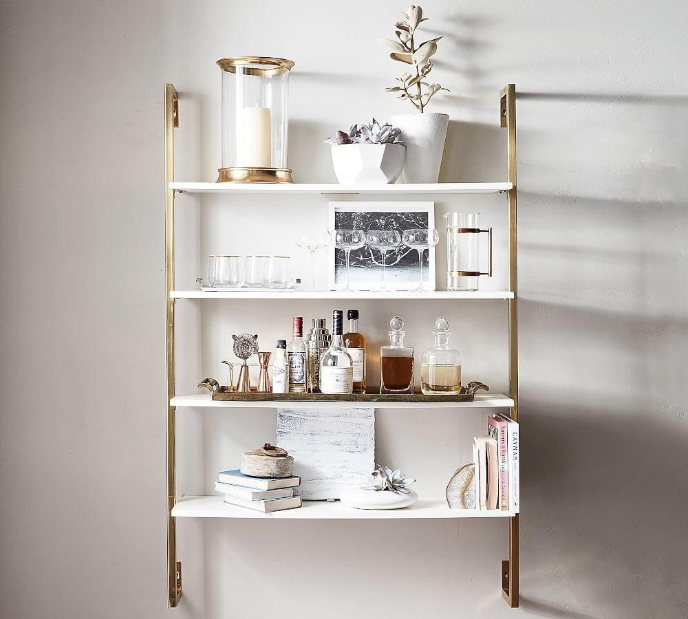 Pottery Barn Olivia Wall Mounted Shelves in Brass