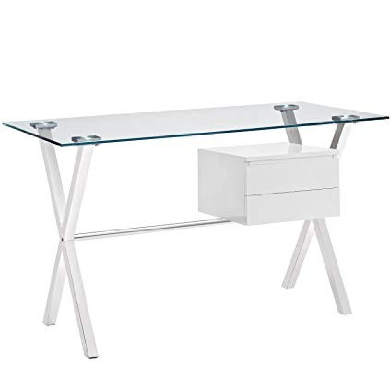 Modway Stasis Modern Glass-Top Office Desk