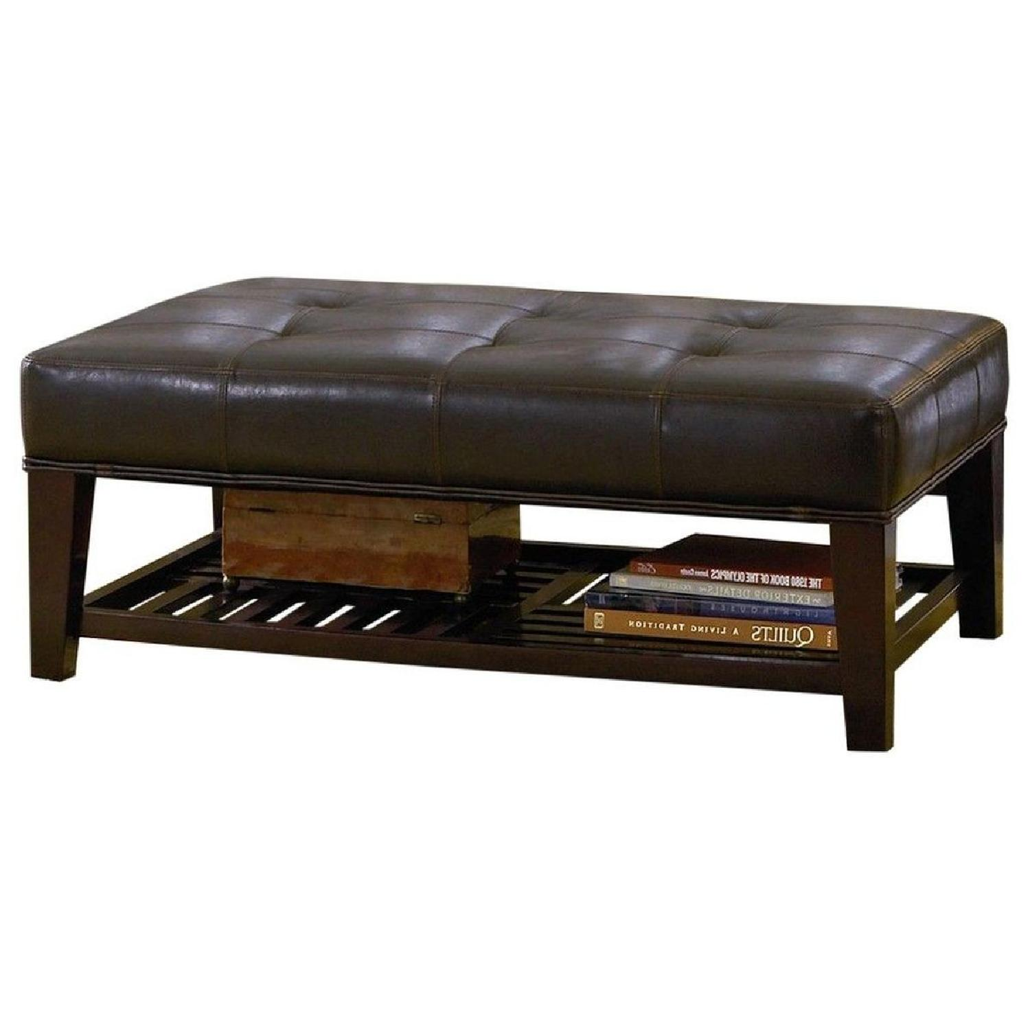 Cushioned Bench in Dark Brown Leatherette w/ Shelf - image-1