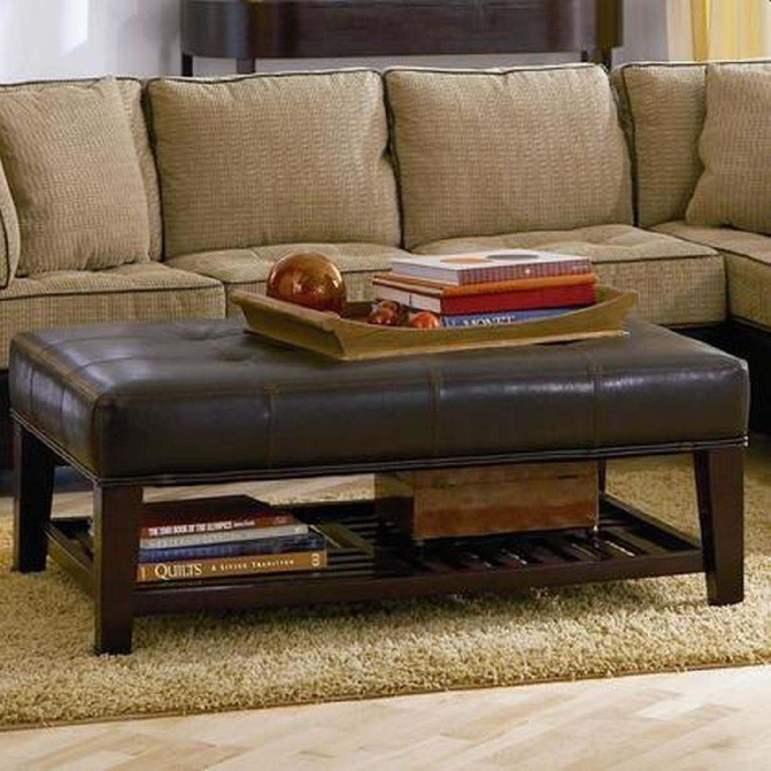 Cushioned Bench in Dark Brown Leatherette w/ Shelf - image-2