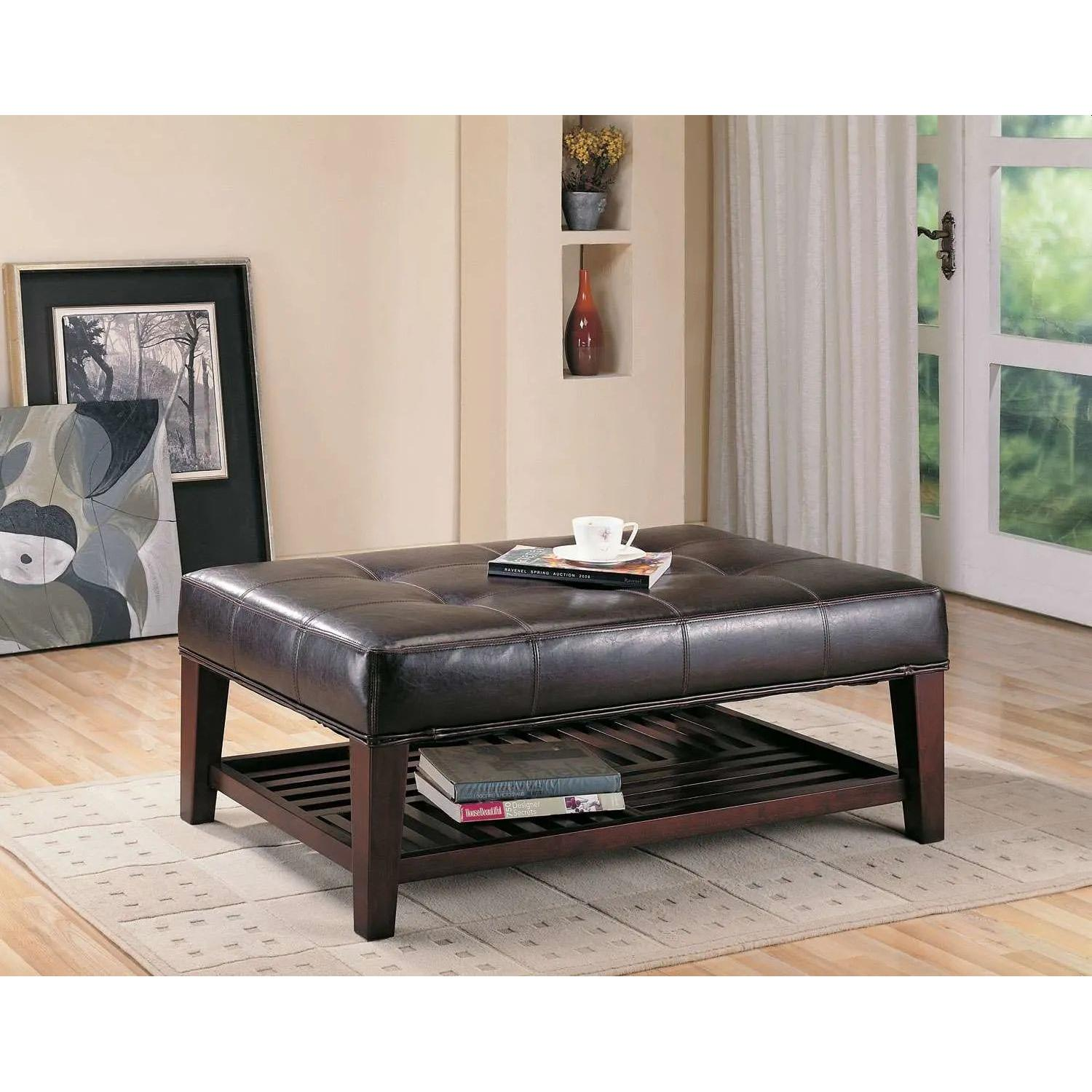 Cushioned Bench in Dark Brown Leatherette w/ Shelf - image-3