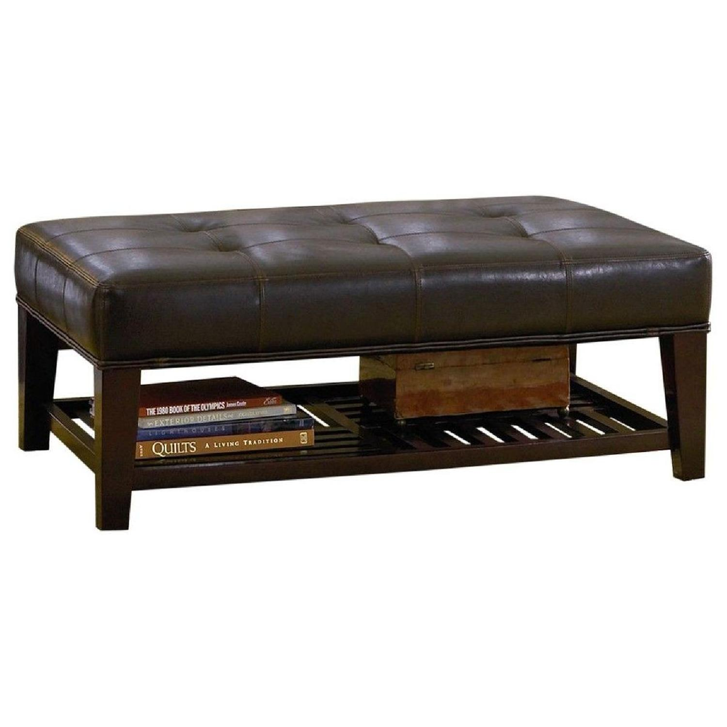Cushioned Bench in Dark Brown Leatherette w/ Shelf - image-0