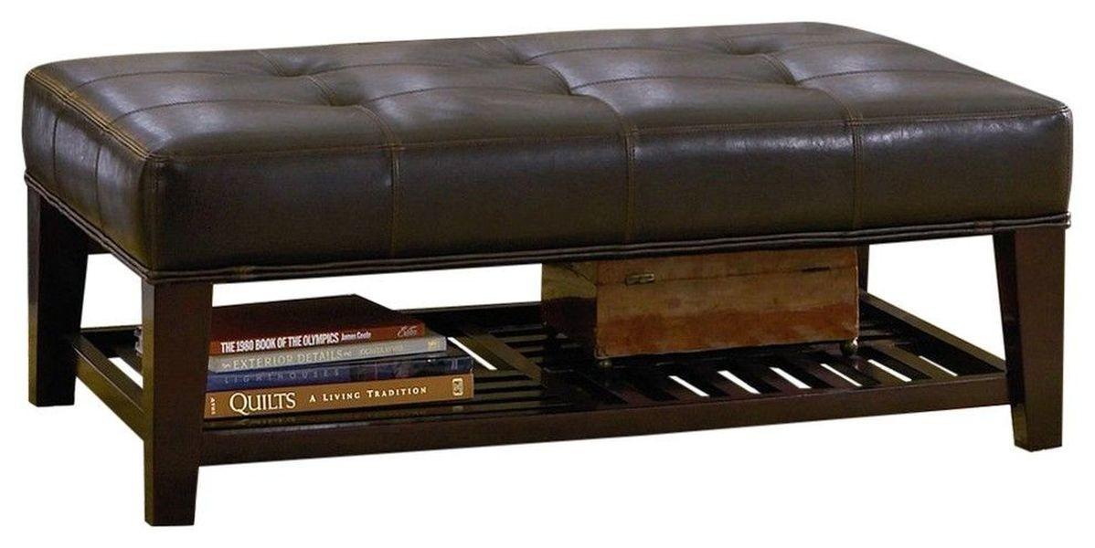 Cushioned Bench in Dark Brown Leatherette w/ Shelf