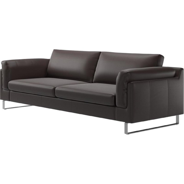 BoConcept Dark Brown Leather Sofa - AptDeco