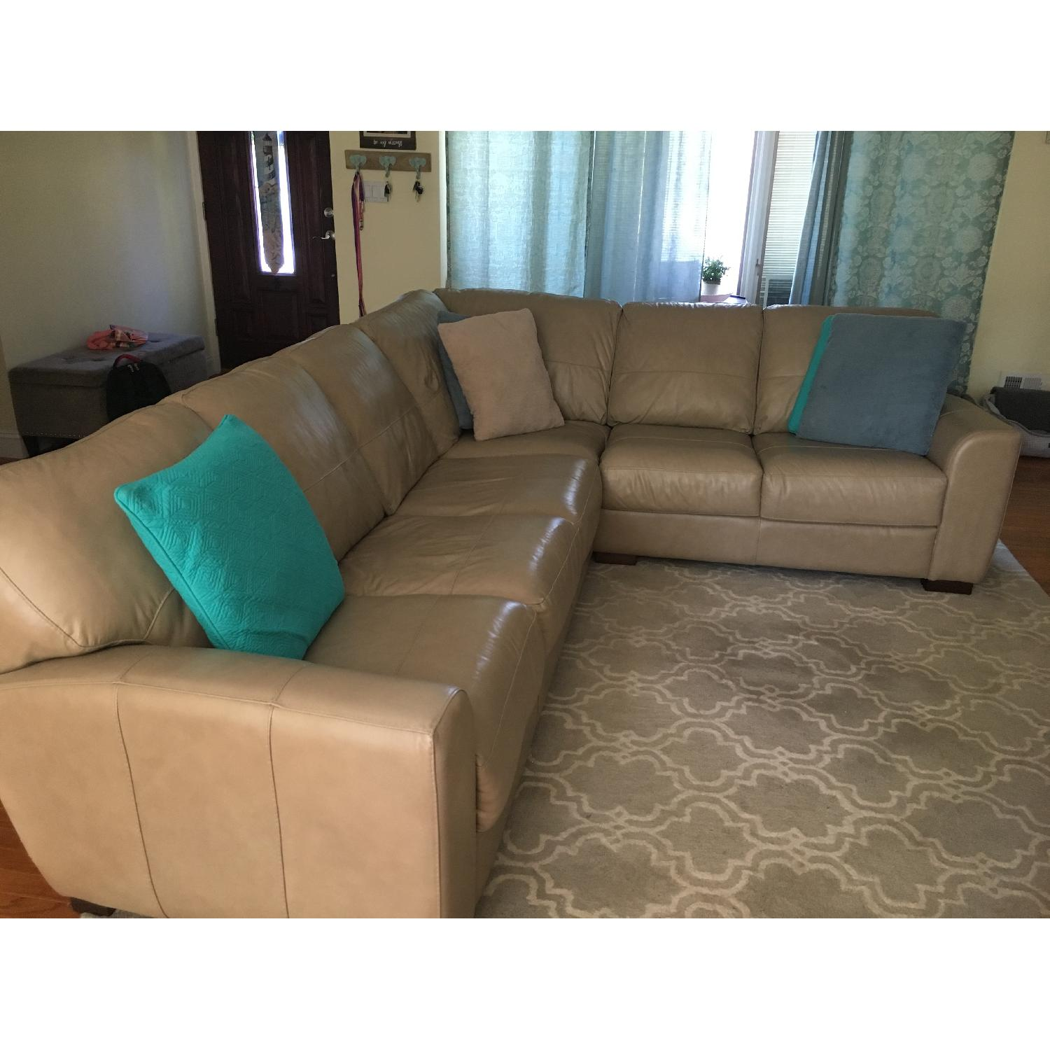 Raymour & Flanigan Beige Leather Sectional Sofa