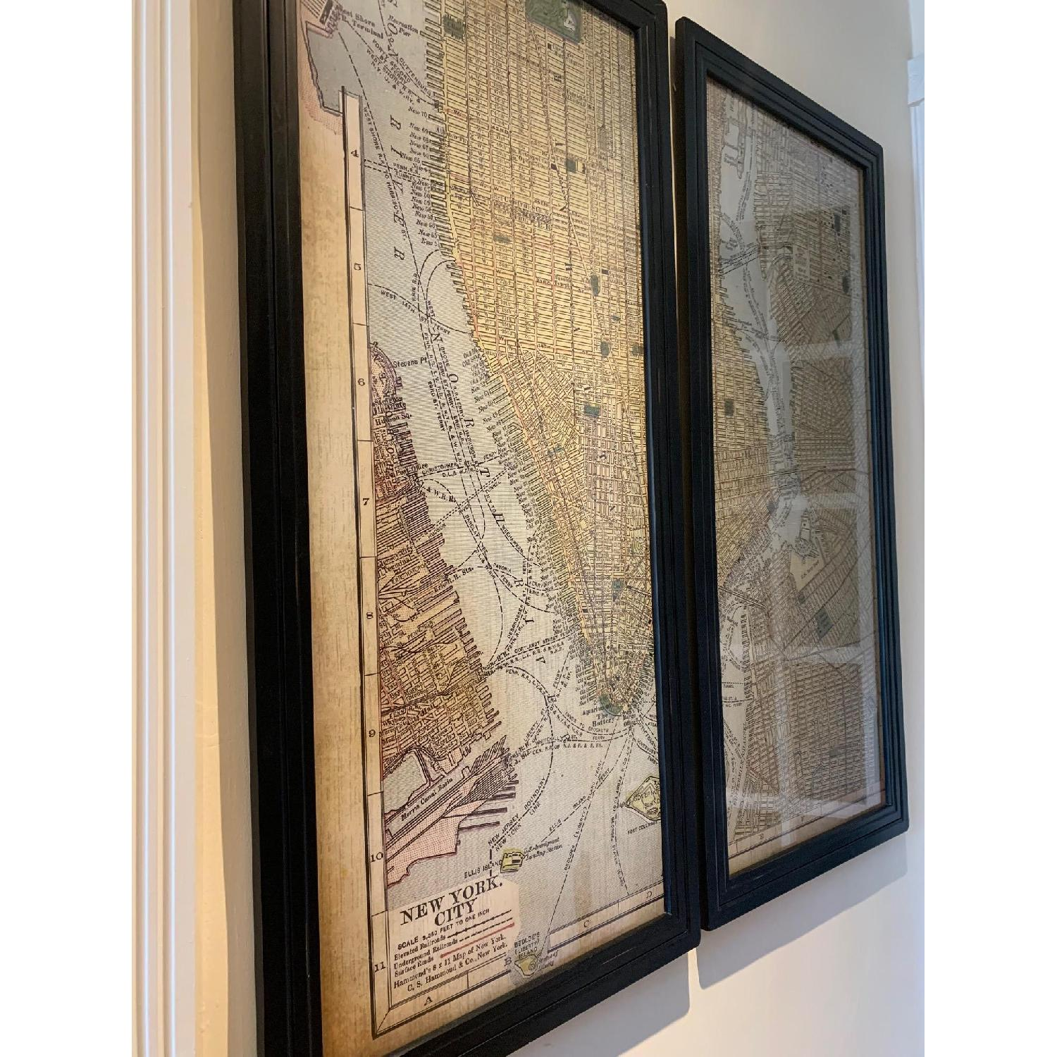 Pottery Barn Framed New York City Map Dyptich Wall Art