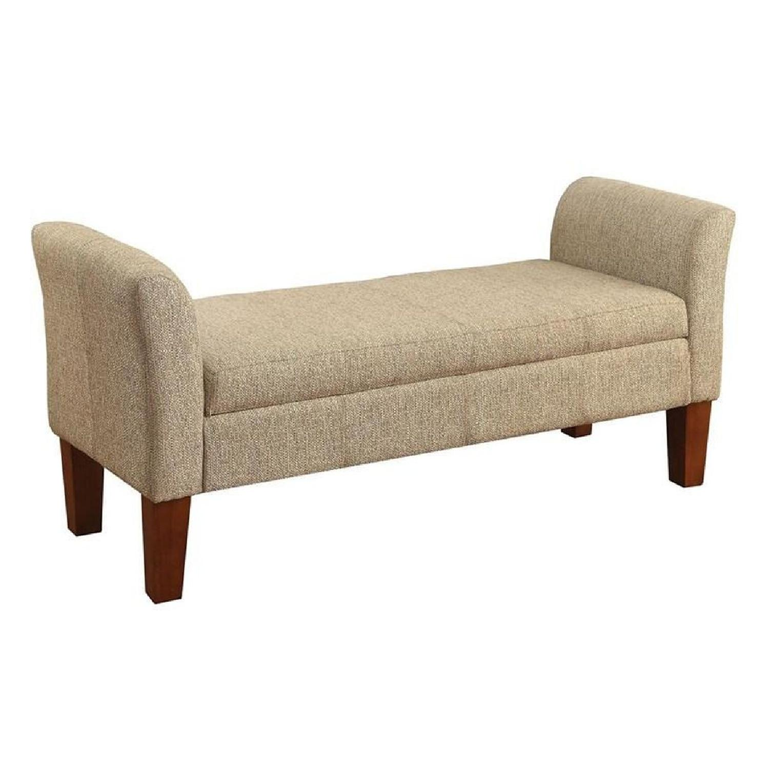 Storage Bench Upholstered In Tan Woven Fabric - image-0