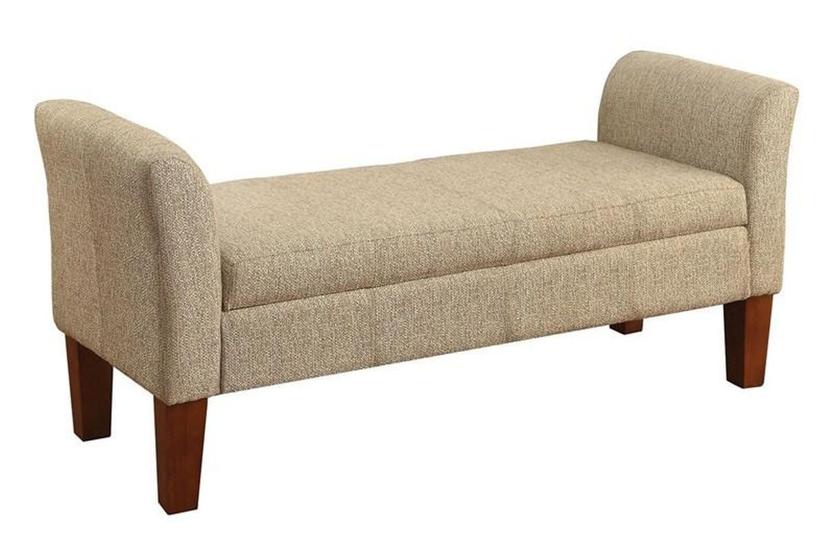 Storage Bench Upholstered In Tan Woven Fabric