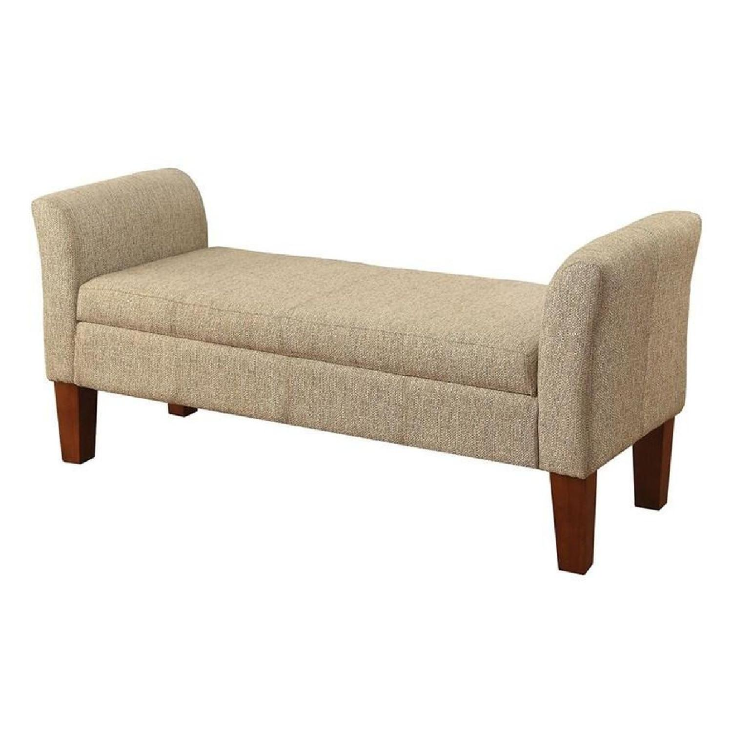 Storage Bench Upholstered In Tan Woven Fabric - image-1