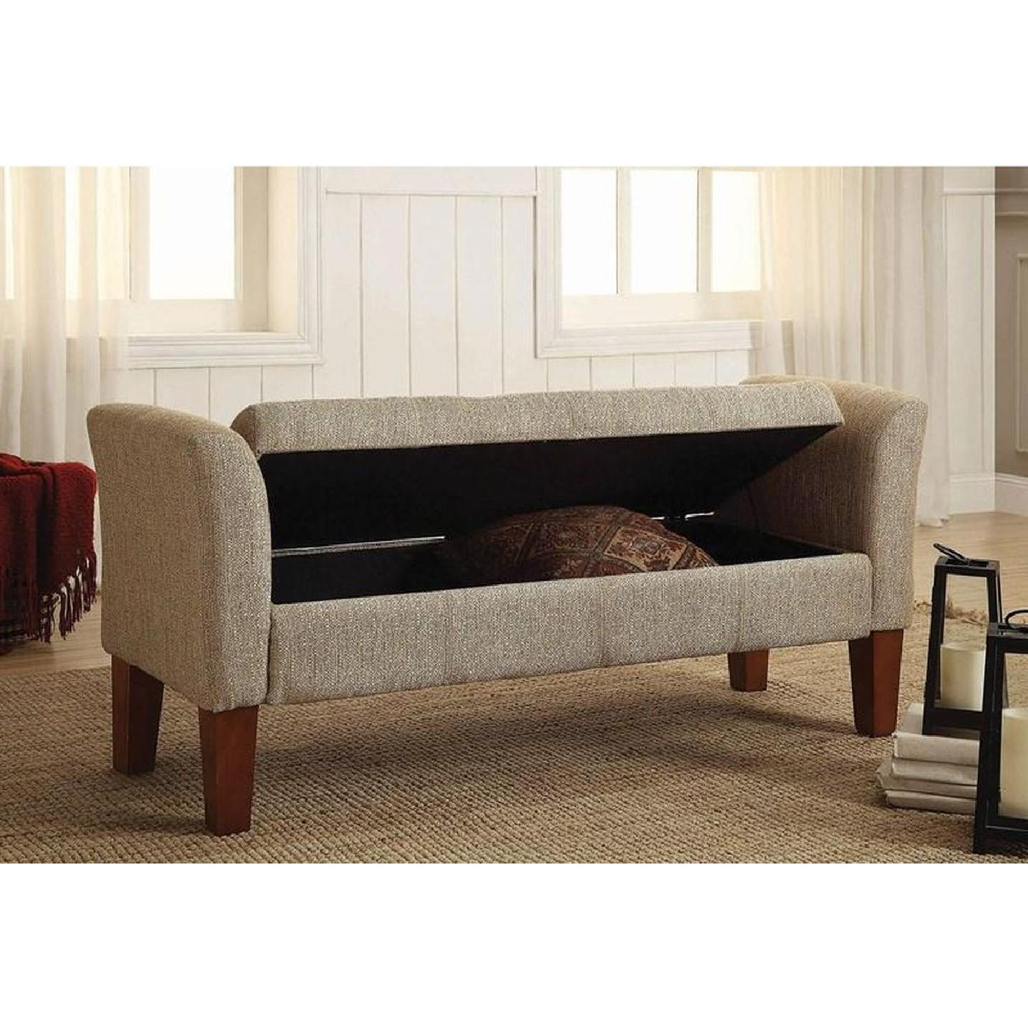 Storage Bench Upholstered In Tan Woven Fabric - image-3
