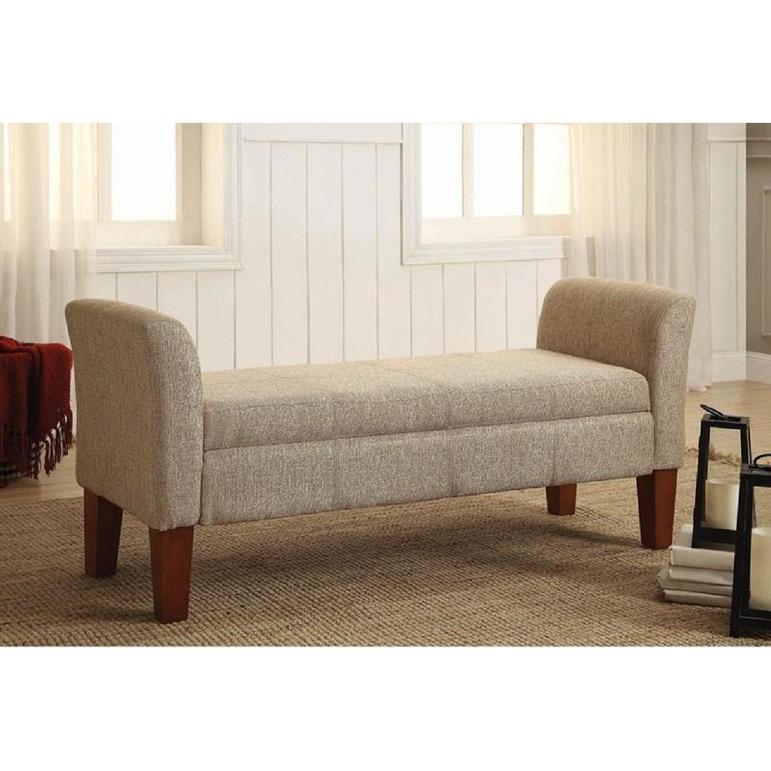Storage Bench Upholstered In Tan Woven Fabric - image-4