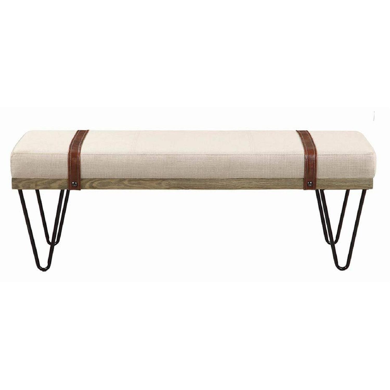 . Modern Bench In Beige   Black Upholstery