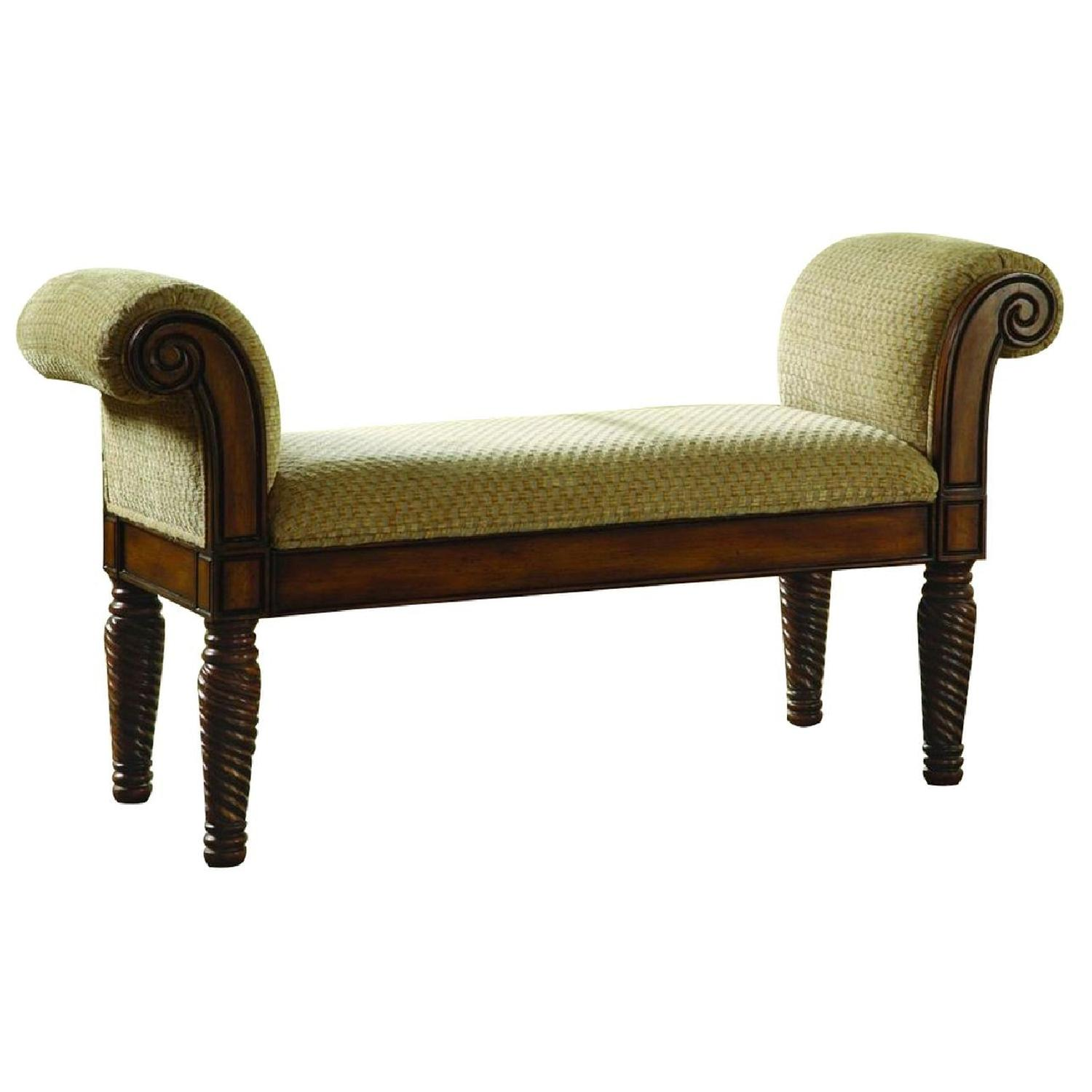 Traditional Style Bench Upholstered in Camel Brown Chenille - image-0