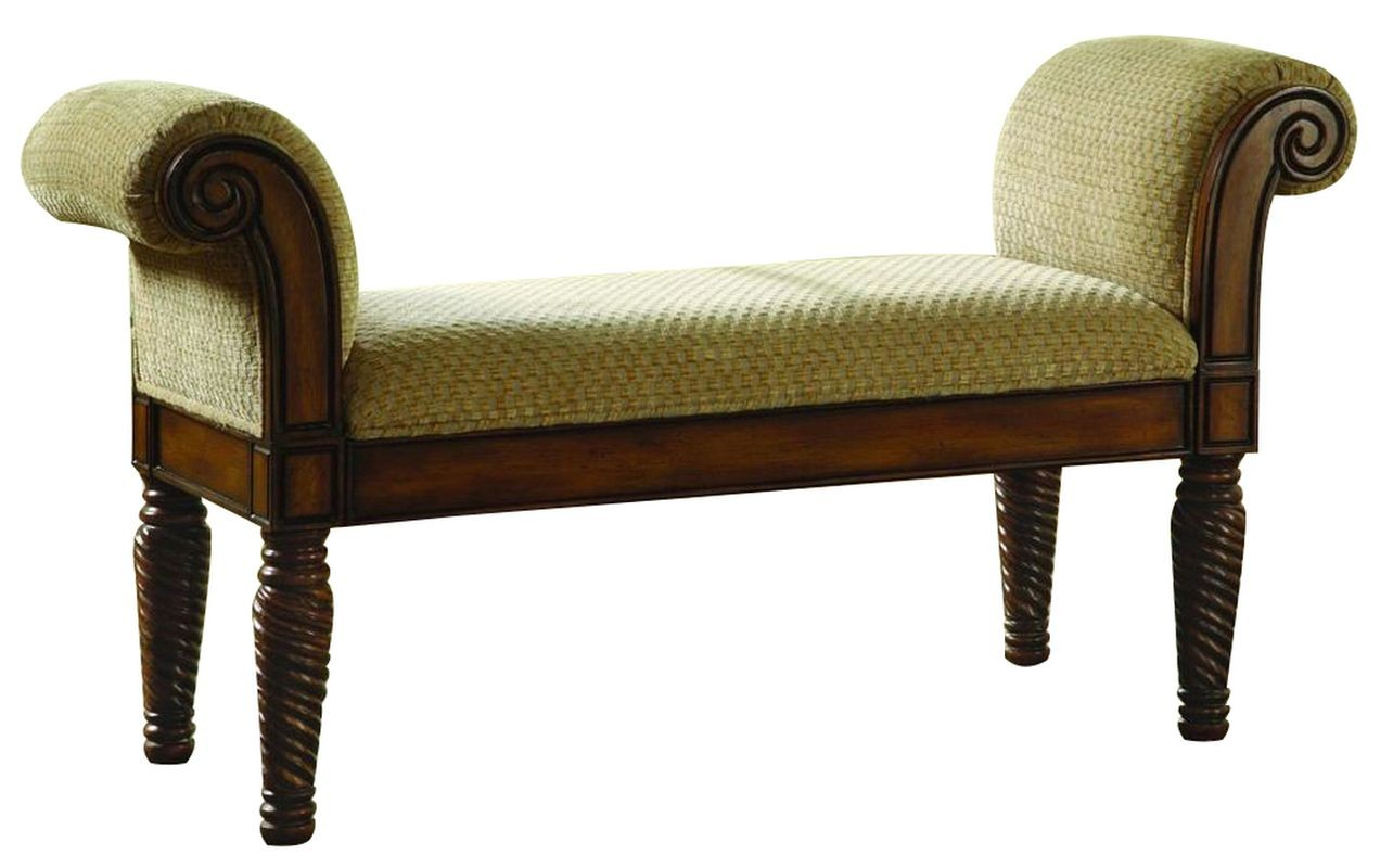 Traditional Style Bench Upholstered in Camel Brown Chenille