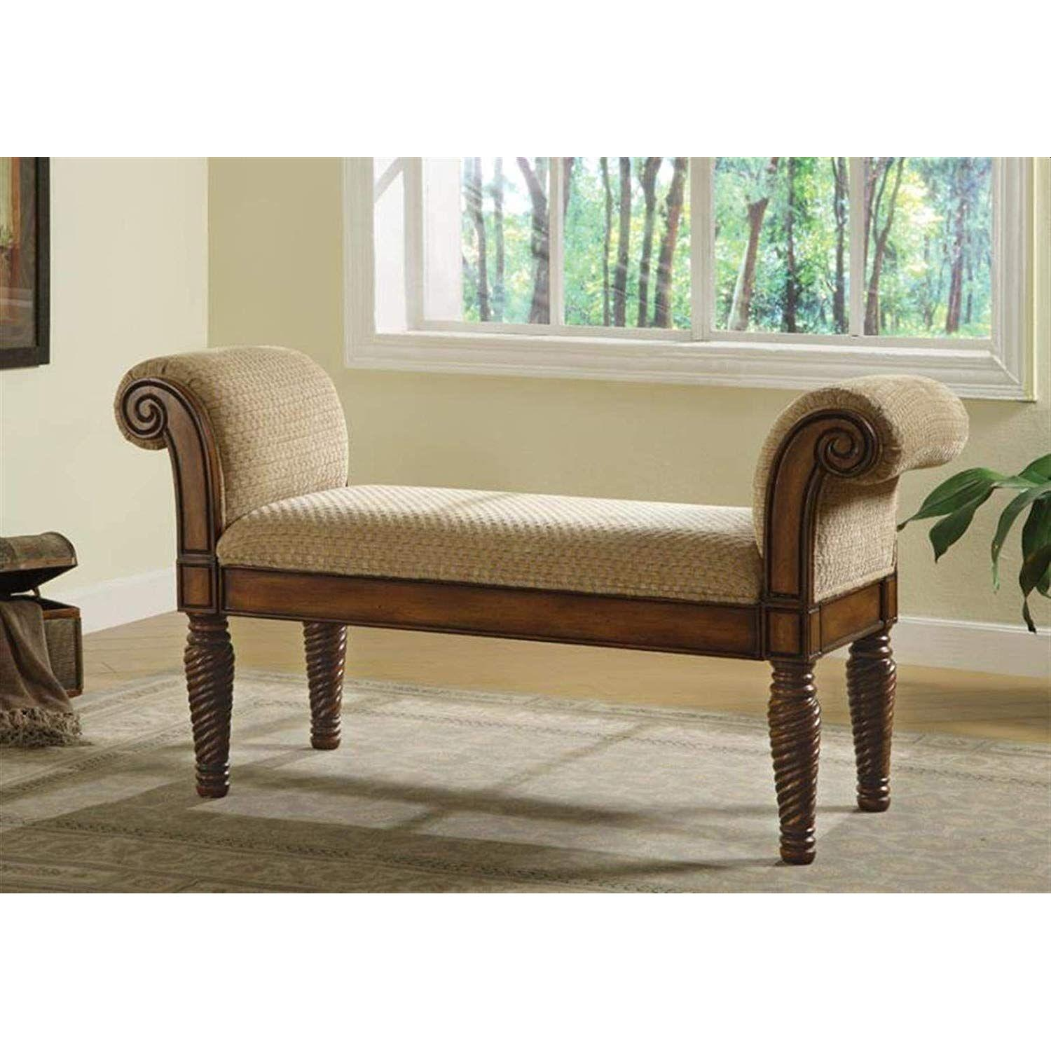 Traditional Style Bench Upholstered in Camel Brown Chenille - image-2