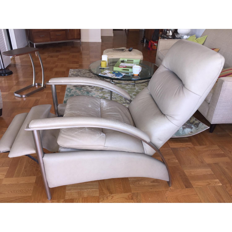 Brilliant Ethan Allen Radius Leather Brushed Steel Recliner Aptdeco Short Links Chair Design For Home Short Linksinfo