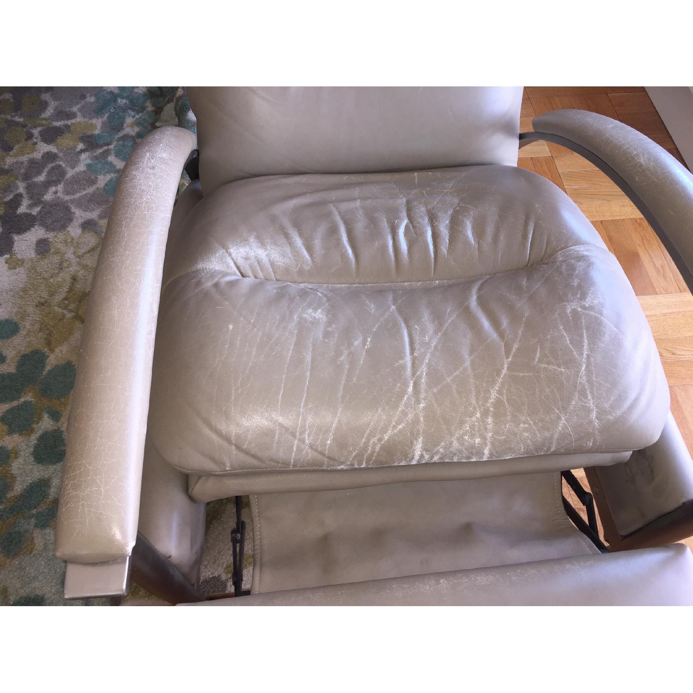 Outstanding Ethan Allen Radius Leather Brushed Steel Recliner Aptdeco Short Links Chair Design For Home Short Linksinfo