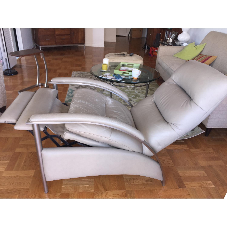Admirable Ethan Allen Radius Leather Brushed Steel Recliner Aptdeco Short Links Chair Design For Home Short Linksinfo