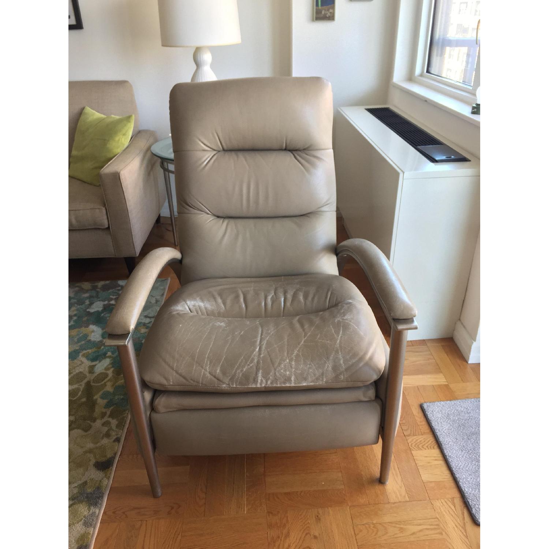 Swell Ethan Allen Radius Leather Brushed Steel Recliner Aptdeco Short Links Chair Design For Home Short Linksinfo