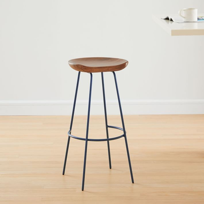 Awe Inspiring West Elm Alden Counter Stool In Walnut Petrol Blue Aptdeco Alphanode Cool Chair Designs And Ideas Alphanodeonline