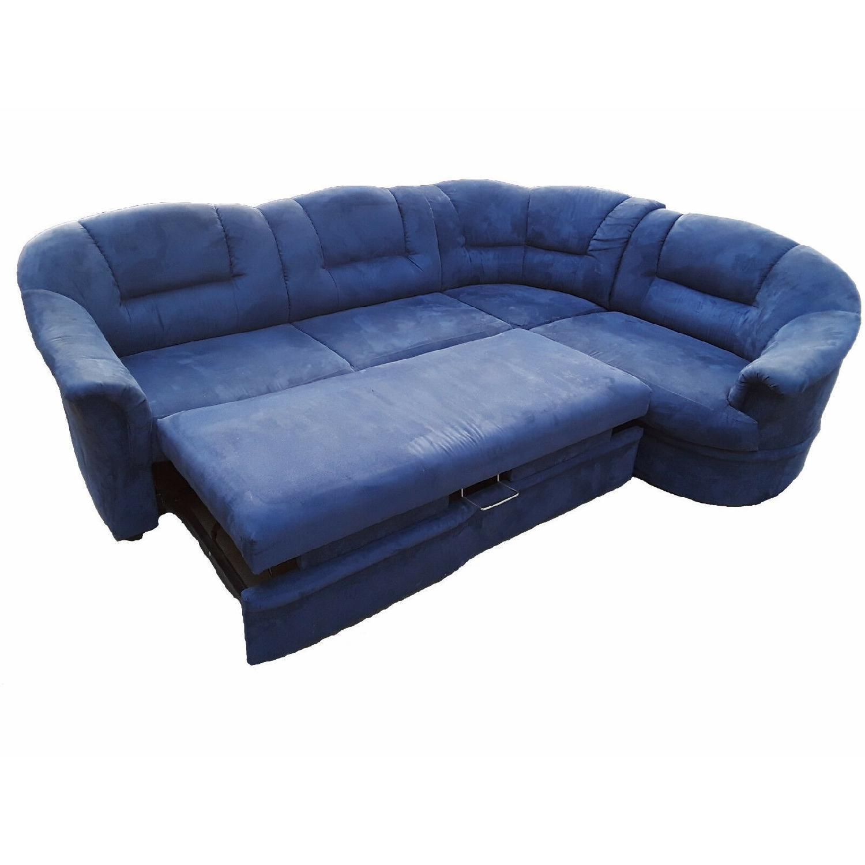 Blue Natural Fabric Sleeper Sectional Sofa
