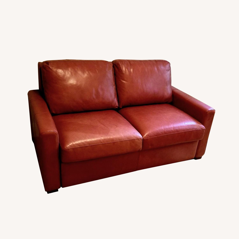 Restoration Hardware Red Leather Sleeper Sofa