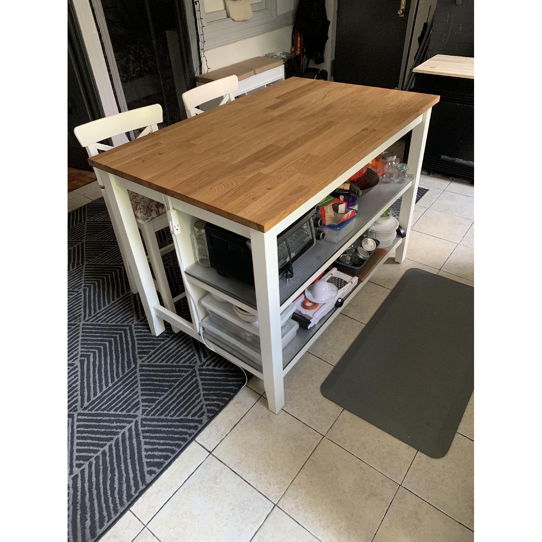 Ikea Stenstorp Kitchen Island w/ 2 Ingolf Stools - AptDeco