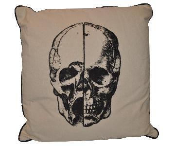 Noir Furniture Canvas & Leather Skull Pillow